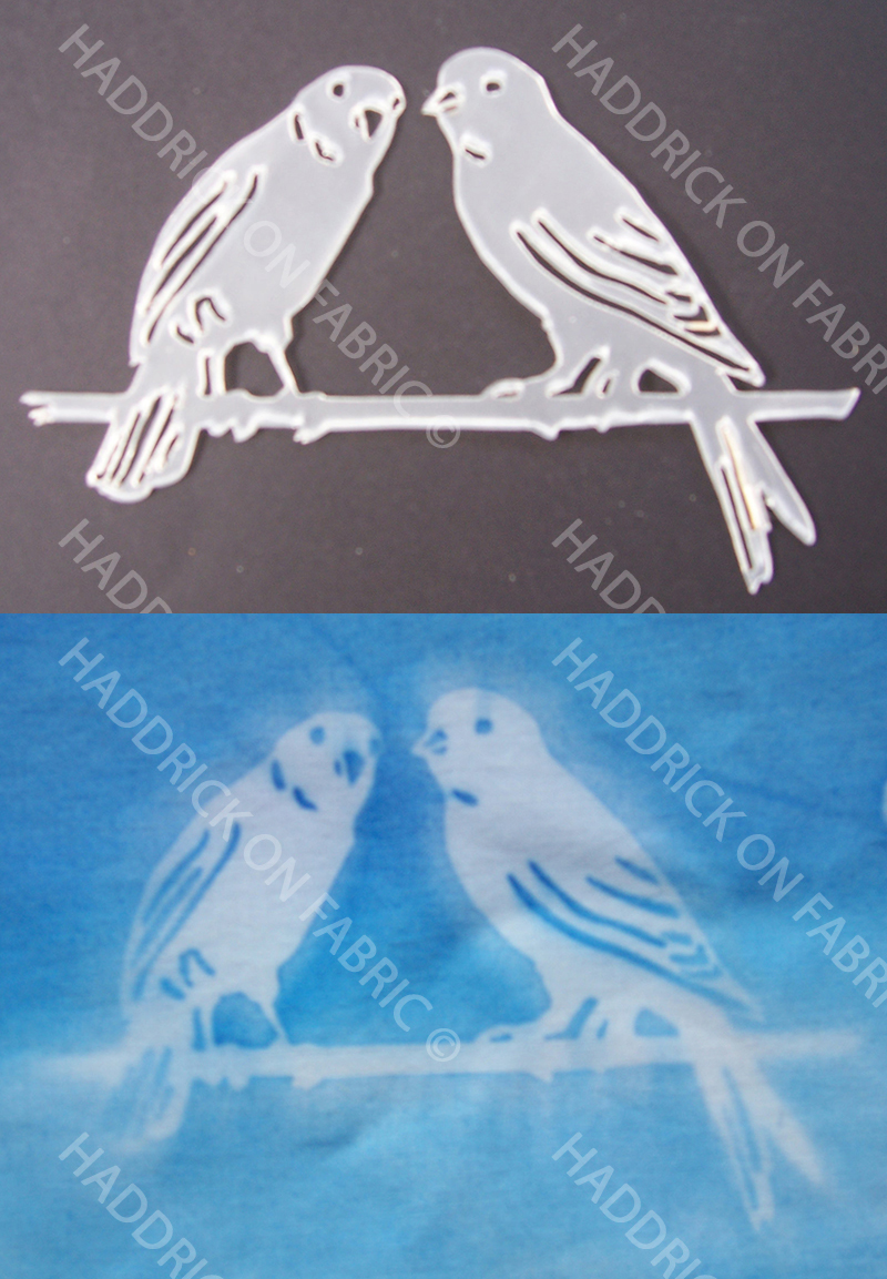 Stencil: Pair of birds on a perch