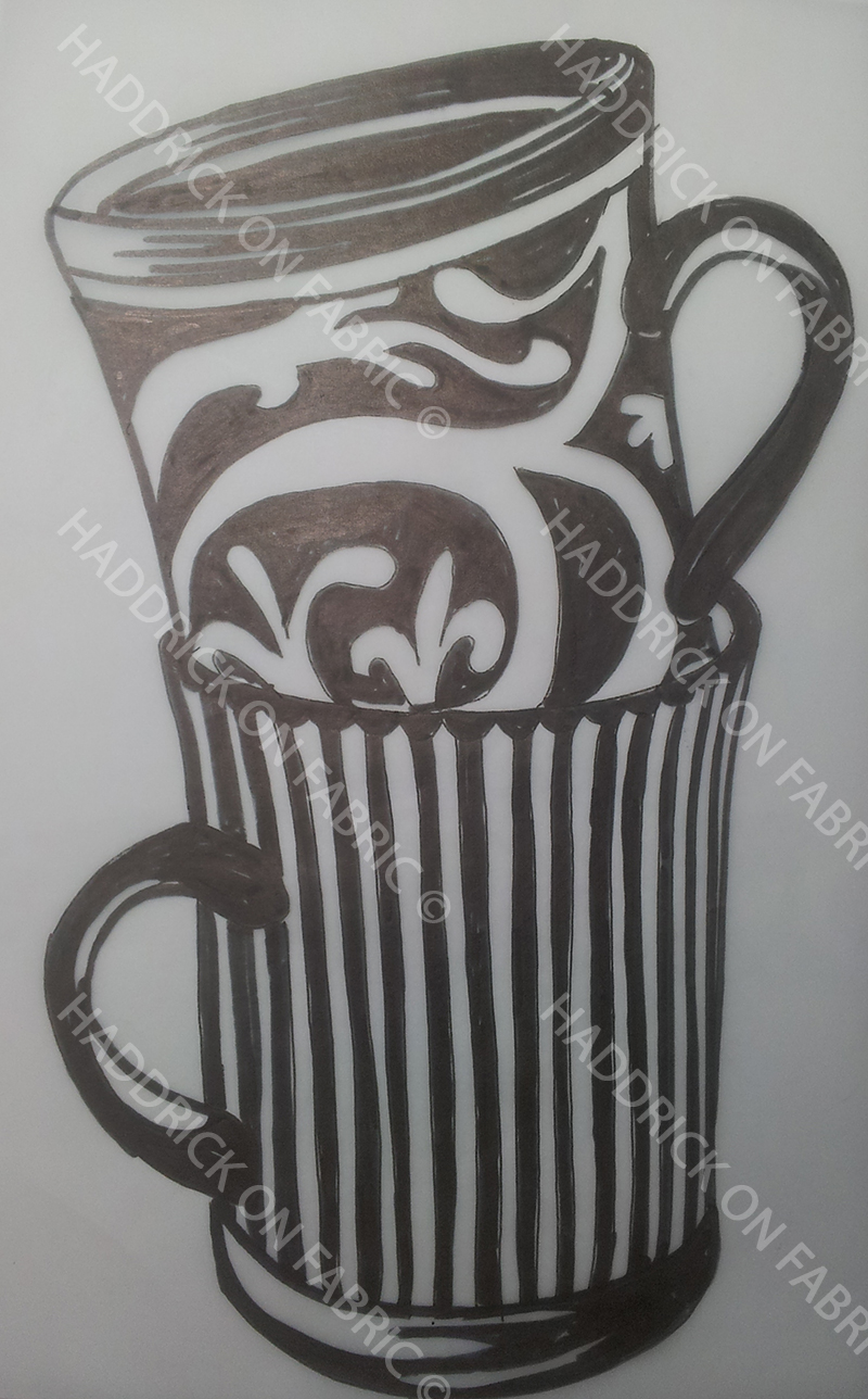 Stencil Stacked Mugs